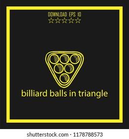 billiard balls in traingle sketch vector icon