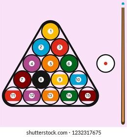 billiard balls in triangle and cue vector silhouette