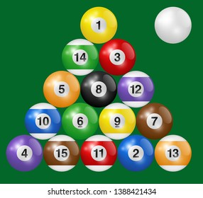 Billiard balls triangle isolated on green background. Three-dimensional and realistic looking vector illustration.
