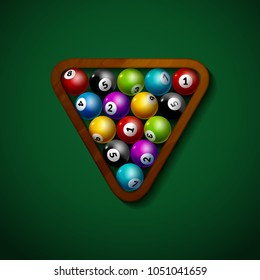 Billiard balls wooden rack triangle isolated green table. Starting billiards balls leisure pool club game.