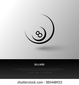 Billiard Black White Freehand Sketch Sparse Graphic Design Vector Illustration EPS10