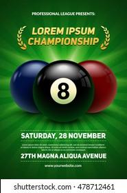 Billiard challenge poster. 3d realistic balls on green background. Eps10 vector illustration.