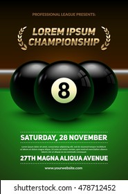 Billiard challenge poster. Realistic black balls on billiard table. Eps10 vector illustration.