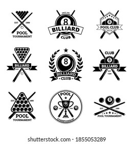 Billiard Club Black Label Badge Sign Set Concept. Vector illustration of Sticker with Balls and Cue