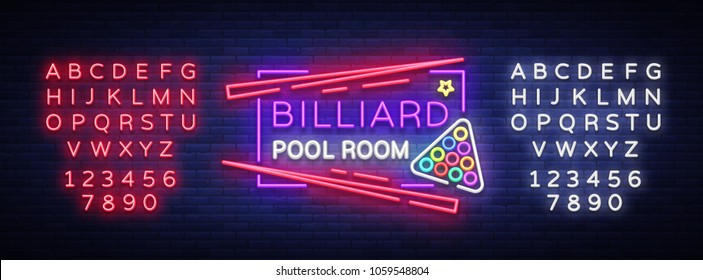 Billiard club neon sign. Billiard pool room Design template Bright neon emblem, logo for Billiard Club, Bar, Tournament. Light banner, night sign. Vector Illustrations. Editing text neon sign