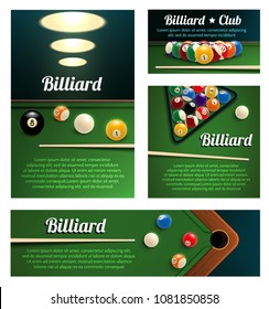 Billiard club and poolroom banner template. Billiard pool ball pyramid in starting position with cue and rack on green snooker table 3d poster for billiards sport game tournament flyer design