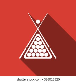 Billiard cues and balls flat icon with long shadow. Vector Illustration