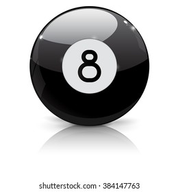 Billiard eight ball. Black ball 8.  Vector illustration isolated on white background