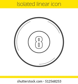 Billiard eight ball linear icon. Magic 8 ball. Thin line illustration. Contour symbol. Vector isolated outline drawing