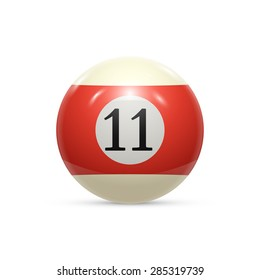 Billiard eleven ball isolated on a white background vector illustration