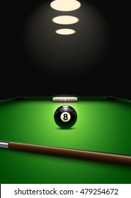 Billiard game background. Balls and que on the billiard table. 8 ball pool game. Perspective view. Snooker poster design. Eps10 vector.