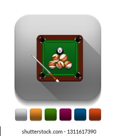 billiard game icon With long shadow over app button