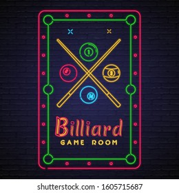 Billiard Game Room Neon Light Glowing Vector Illustration
