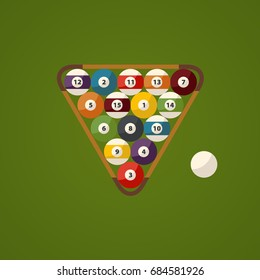Billiard green table and balls top view. Sport flat design theme.
