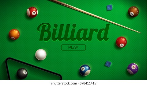 billiard green table realistic 3d objects balls Cue triangle place for text