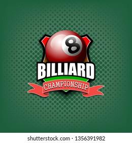 Billiard logo template design. Vintage Style. Isolated on green background. Vector illustration