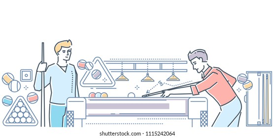 Billiard - modern line design style colorful illustration. High quality composition with young men playing the game at a club, images of equipment. Entertainment , free time, leisure concept