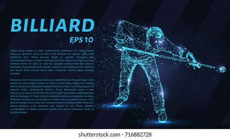 The billiard particle. Man playing Billiards. Silhouette of dots and circles. Vector illustration