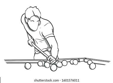 Billiard player vector illustration in black and white