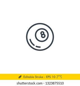 Billiard Pool Ball Icon / Vector - In Line / Stroke Design