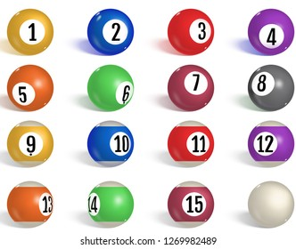 Billiard, pool balls collection. Snooker. Realistic balls on white background. Vector illustration.