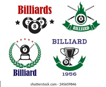 Billiard or pool emblems in traditional colors with crossed cues, billiard balls and trophy cup decorated laurel wreath, ribbon banners and stars for sporting club or competition design