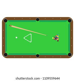 Billiard pool table vector club illustration isolated white. Gamble stick snooker symbol 3d poster. Ball rack background poolroom event. flat game silhouette playing top view. Sport competition design