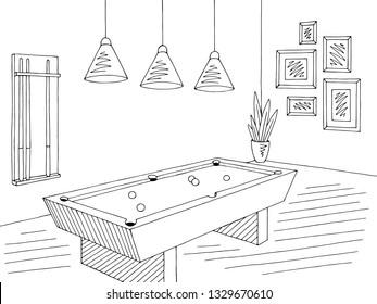 Billiard room graphic black white interior sketch illustration vector