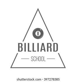 Billiard school badge. Isolated emblem, label of billiard school on white background. Triangle vector logotype. Monochrome design.