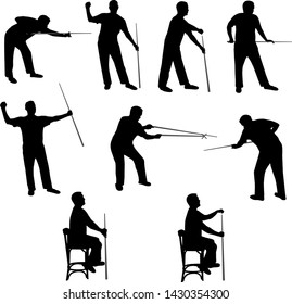 Billiard and snooker player vector silhouettes