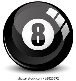 Billiard snooker - pool ball eight - 8 ball - black, isolated on white, with reflections, vector illustration