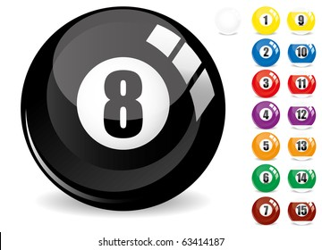 Billiard snooker - pool ball eight - 8 ball - black and other fifteen 15 billiard balls, isolated on white, with reflections, vector illustration