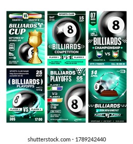 Billiard Sportive Promo Leaflet Posters Set Vector. Black Ball Number Eight, Hitting Stick And Golden Goblet, Billiard Snooker Collection Of Different Banners. Sport Game Concept Layout Illustrations