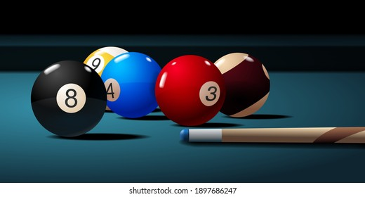 Billiard table with cue and balls