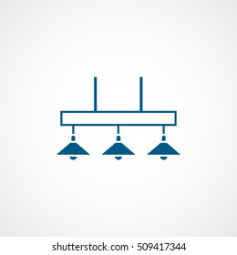 Billiard Table Lamp Blue Flat Icon On White Background