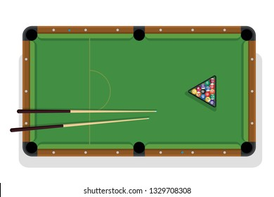 Billiard table, pool stick and billiard balls for game. Pool table with triangle, balls and cua top view