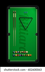 billiard table top view balls sport theme