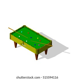 Billiard table.Isolated on white background.3d Vector illustration.Isometric view.