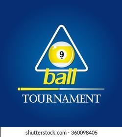 Billiard tournament. 9 ball pool. Vector illustration.