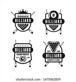Billiard Tournament Design Logo Collections