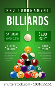 Billiard tournament poster for snooker and pool billiards sport game competition. Billiard pyramid with white ball and cue on green table for pool room or billiards club promo banner and flyer design