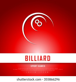 Billiard White Red Freehand Sketch Graphic Design Vector Illustration EPS10