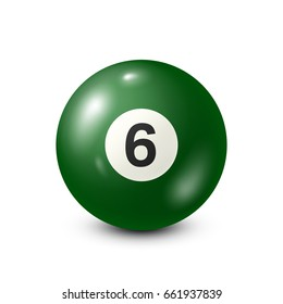 Billiard,green pool ball with number 6.Snooker. White background.Vector illustration.