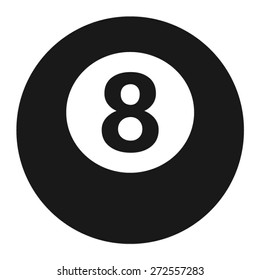 Billiards 8-ball pool flat vector icon for sports apps and websites
