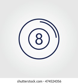 Billiards 8-ball pool line art icon
