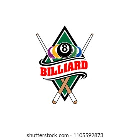 Billiards badges design logos with ball, sticks and simple text. Sport labels vector illustration for pool, poolroom or billiard club and team