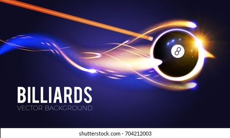 Billiards ball with energy light motion. Gambling. Sport flyer design template. Vector illustration
