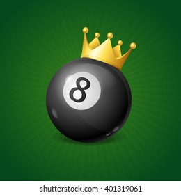 Billiards Concept with Golden Crown. Vector illustration
