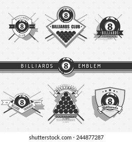 Billiards emblems - monochrome