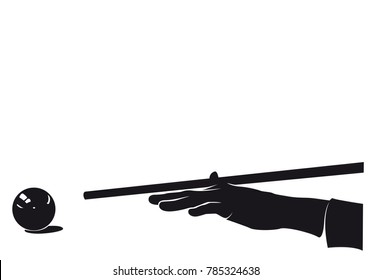 Billiards hand player with ball, silhouette, isolated on white
